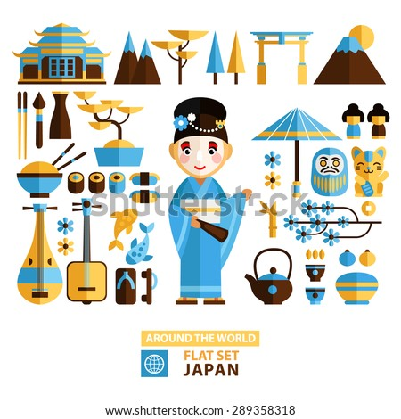 "Set of traditional Japanese symbols and characters in a flat style. Asian vector graphic elements. Architecture, art, cuisine and religion of Japan in the set of graphic elements ""around the world"" - stock vector"