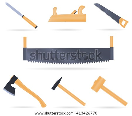 Set of traditional tools of the carpenter, with wooden handle, vector illustration isolated on white - stock vector