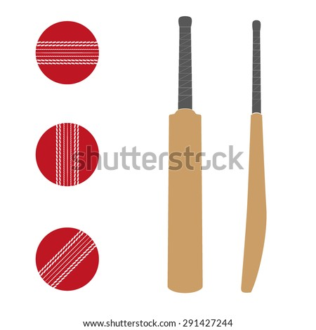 Set of Traditional wood cricket bats and balls.. Flat design. Vector Illustration on isolated white background. - stock vector