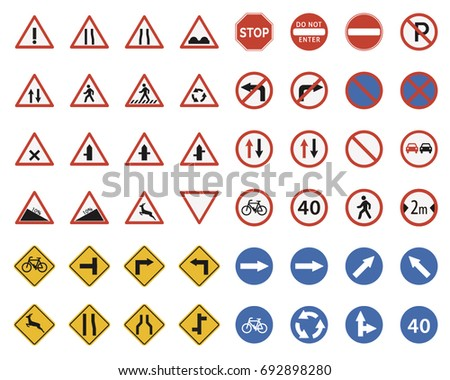 Set of Traffic-Road-Sign Collection. Vector illustration