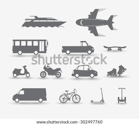 Set of traffic vehicles, silhouette illustartion - stock vector