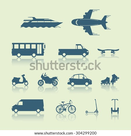 Set of traffic vehicles, silhouette illustration - stock vector