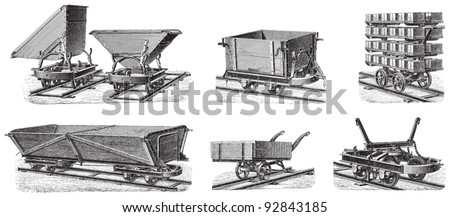 Set of train carts / vintage illustration from Meyers Konversations-Lexikon 1897 - stock vector