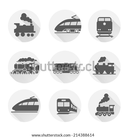 Set of train icons on white background. Vector illustration. - stock vector