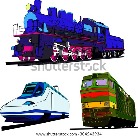 Set of trains vector illustration. Steam train, speed express and locomotive isolated on white background. - stock vector