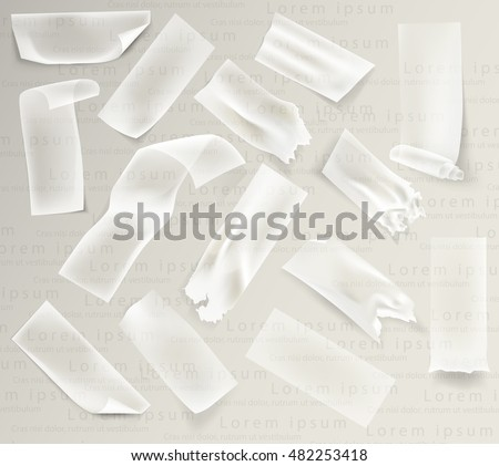 set of transparent adhesive tape and adhesive sellotape