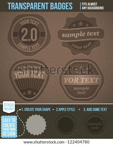 Set of transparent badges. Styles included - stock vector