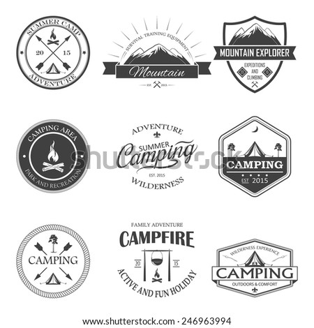 Set of transparent camping labels and badges. Vector illustration - stock vector