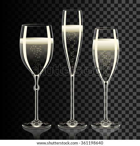 Set of transparent champagne glasses with sparkles. Reflection on desk. - stock vector
