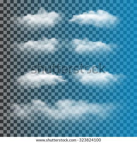 Set of transparent clouds - stock vector