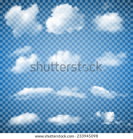 Set of Transparent Clouds (gradient mesh) - stock vector