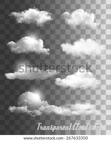 Set of transparent clouds. Vector.  - stock vector