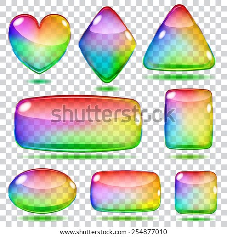 Set of transparent colored glass shapes - stock vector