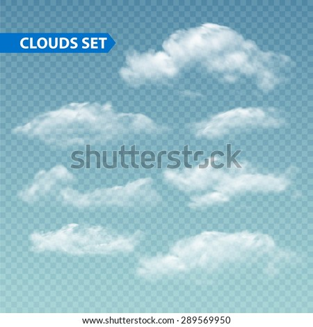 Set of transparent different clouds. Vector illustration EPS 10 - stock vector