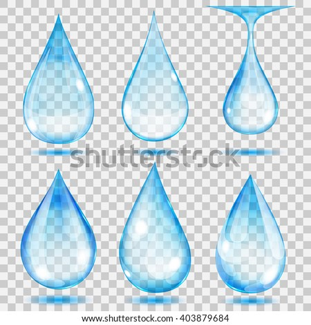 Set of transparent drops in light blue colors. Transparency only in vector format. Can be used with any background - stock vector
