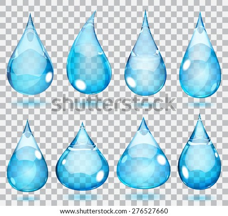 Set of transparent drops in saturated light blue colors - stock vector
