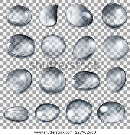 Set of transparent drops of different forms in gray colors - stock vector