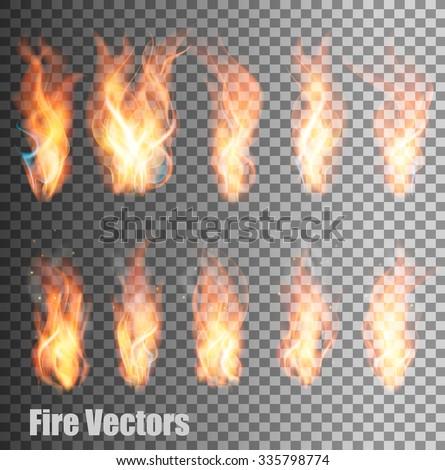 Set of transparent flame vectors. - stock vector