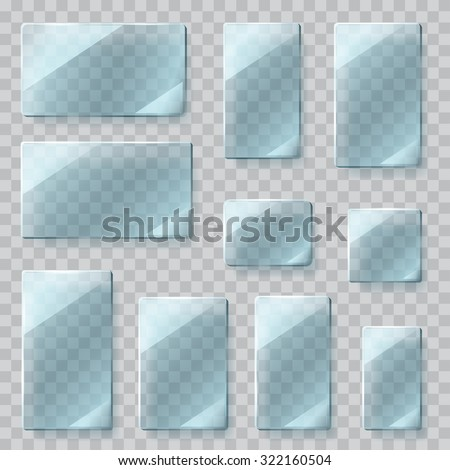 Set of transparent glass plates of different shapes in light blue colors. Transparency only in vector file - stock vector