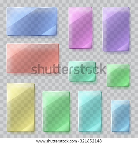 Set of transparent glass plates of different shapes in various colors. Transparency only in vector file - stock vector