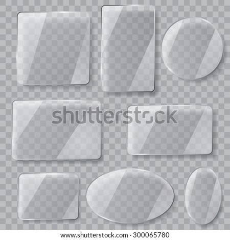 Set of transparent glass plates of different shapes. Transparency only in vector file - stock vector