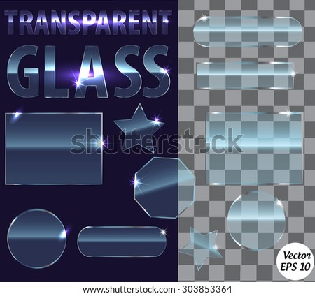 Set of transparent glass plates of different shapes. Transparency only in vector file. - stock vector