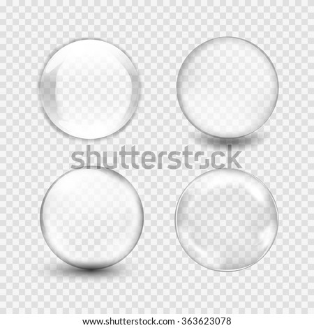 Set of transparent glass sphere with glares and highlights. White pearl, water soap bubble, shiny glossy orb. Vector illustration with transparencies, gradient and effects for your design and business - stock vector