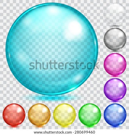 Set of transparent glass spheres of various colors with glares and shadows - stock vector
