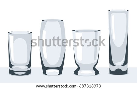 Set Transparent Glasses Empty Vases Tableware Stock Vector 687318973
