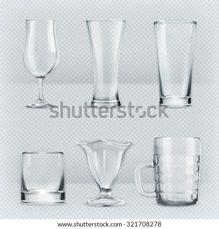 Set of transparent glasses goblets, vector icon - stock vector