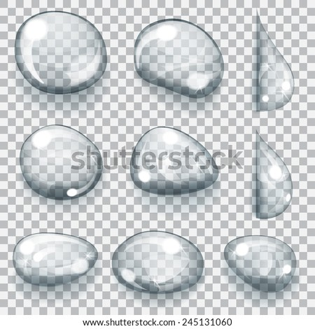 Set of transparent gray drops of different forms - stock vector