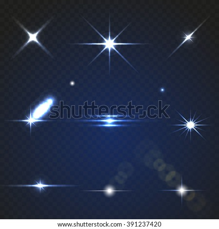 Set of Transparent Lens Flares and Lighting Effects. Natural effects. With transparency for design. The effect of transparency for dark backgrounds. Vector eps 10.  - stock vector