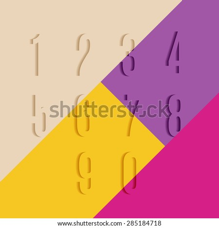 Set of Transparent Numbers with Shadow on Colorful Background. Template Vector Volume Numeric Concept.