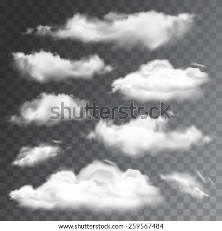 Set of transparent realistic clouds. Vector illustration - stock vector