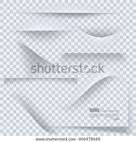 Set of transparent realistic paper shadow effects on blank sheet of paper. Elements  for your design. - stock vector