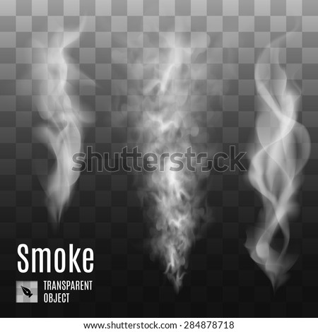 Set of transparent smoke on dark background