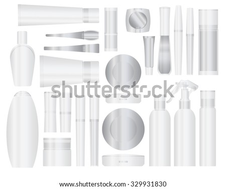 Set of transparent vector cosmetic packages samples for product design - stock vector