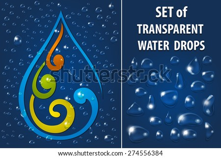 Set of Transparent Water Drops with Reflection a Color Background. Vector illustration - stock vector