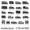 Set of transport black icons with reflection, vector illustrations - stock vector