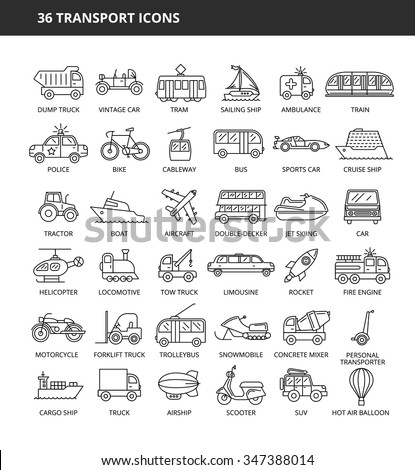 Set of 36 transport icons - stock vector