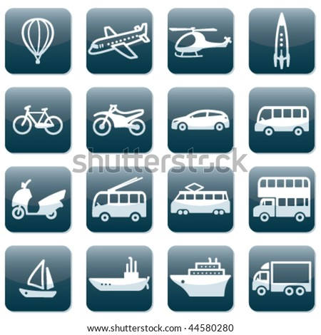 Set of 16 transport icons - stock vector