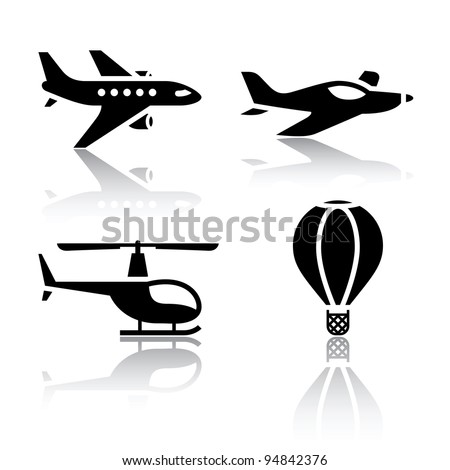 Set of transport icons - airplane and helicopter as well as the balloon symbols