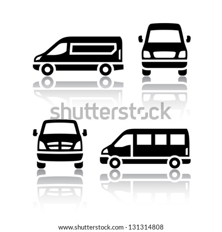 Set of transport icons - Cargo van, vector illustration - stock vector