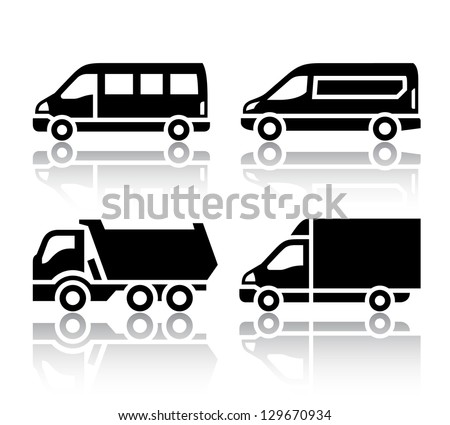 Set of transport icons - freight transport, vector illustration isolated on a white background - stock vector