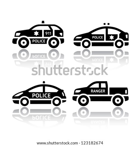 Set of transport icons - Police cars. Silhouettes of vector illustrations isolated on white background, with reflection. - stock vector