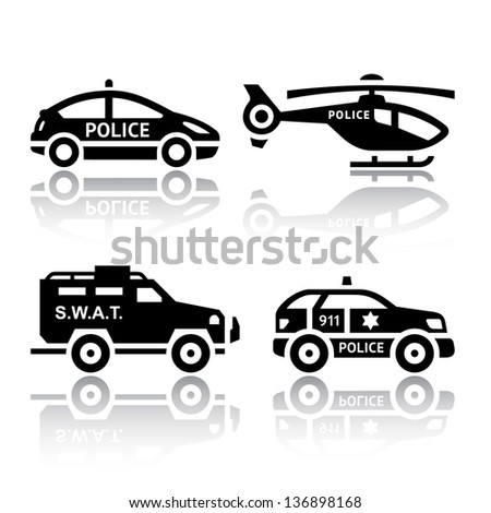 Set of transport icons - Police part 2, vector illustrations, set silhouettes isolated on white background. - stock vector