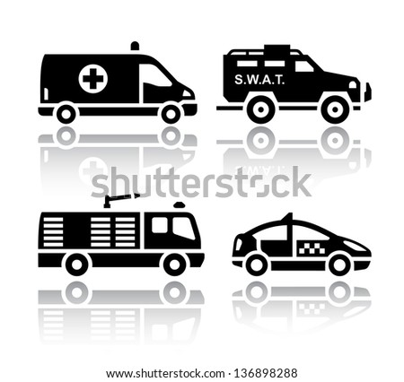 Set of transport icons - Rescue, vector illustrations, set silhouettes isolated on white background. - stock vector