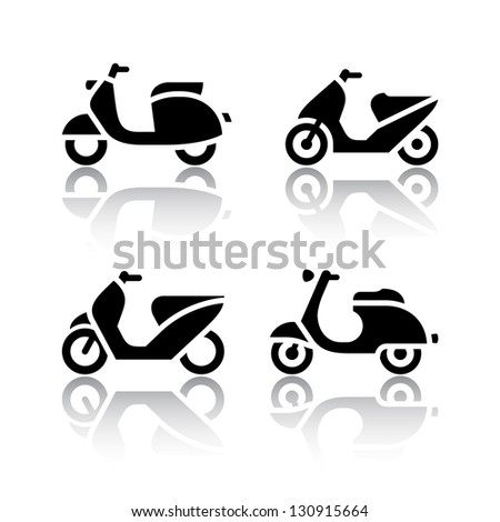 Set of transport icons - scooter and moped, vector illustration - stock vector