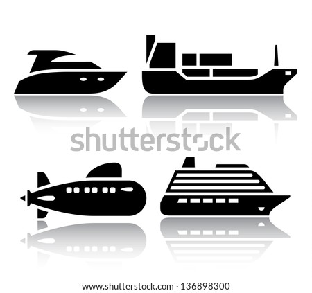 Set of transport icons - Water transport, vector illustrations, set silhouettes isolated on white background. - stock vector