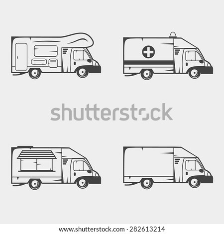Set of transport monochrome icons. Camper, ambulance, food truck and cargo truck. - stock vector